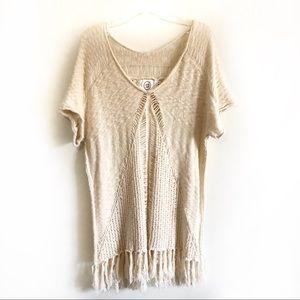 Sloan Rouge ivory sweater tunic dress fringe